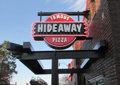Hideaway Pizza Projection Blade Sign